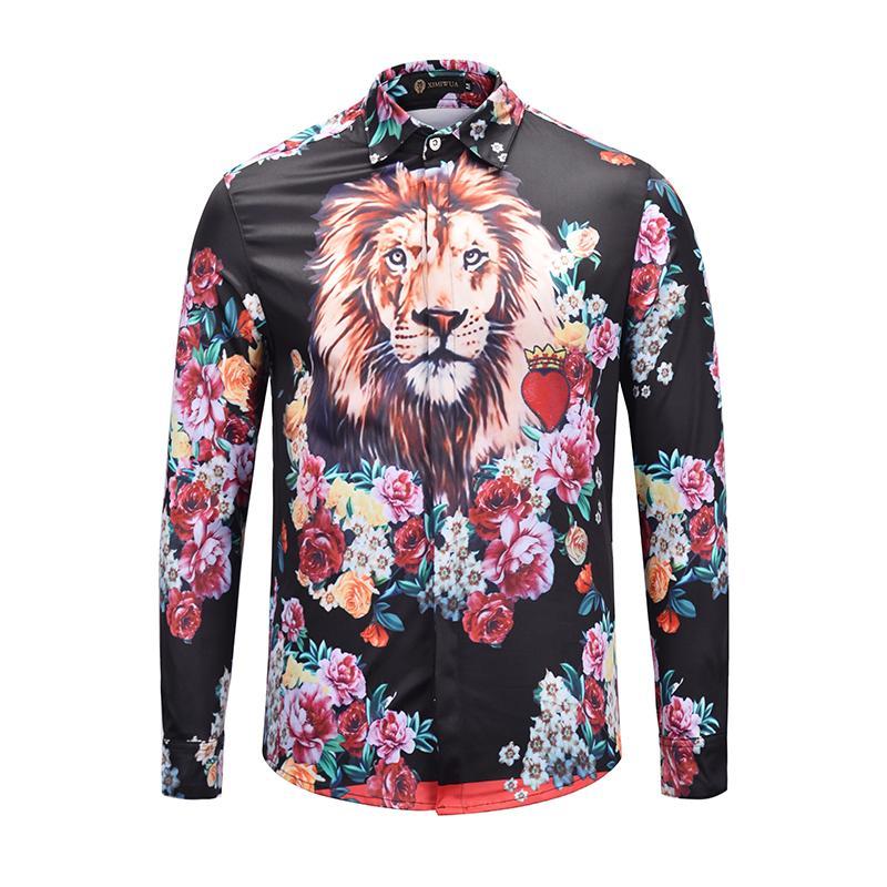 d0cacb20 2019 XIMIWUA 2018 New Floral Shirts Men Dress Shirts Print Lion Head Hawaiian  Shirt Long Sleeve Casual Slim Fit Camisas Para Hombre From Firstcloth, ...