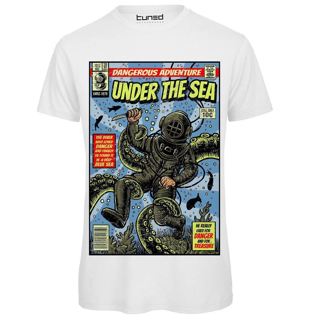 the best attitude 57d6b c470e T Shirt Divertente Maglietta Uomo Con Stampa Estiva Ironica Sub Under The  Sea T Shirt Summer Tops Tees Harajuku