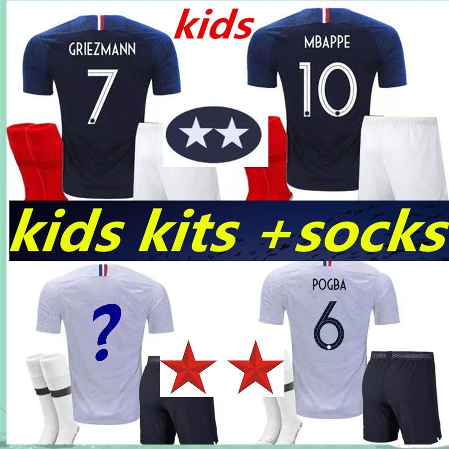 d139066d298 2 Stars Kids Kits +socks Franch MBAPPE GRIEZMANN Maillot World Cup ...