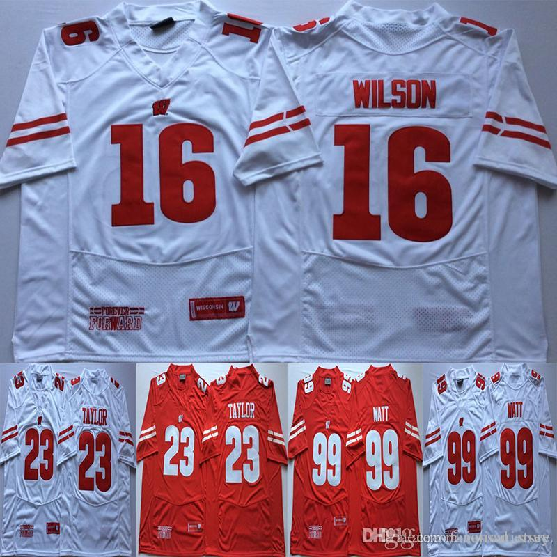 the best attitude 55d3c f779c 23 Jonathan Taylor Football Jersey 16 Russell Wilson 99 JJ Watt Wisconsin  Badgers College Football Red White University Men Man Stiched