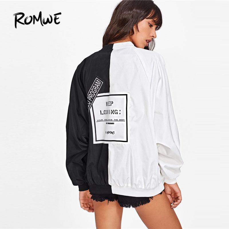 ROMWE 2018 New Two Tone Patch Back Letter Ribbon Detail Bomber Jacket Female Spring Stand Collar Ladies Top Letter Coat L18100904