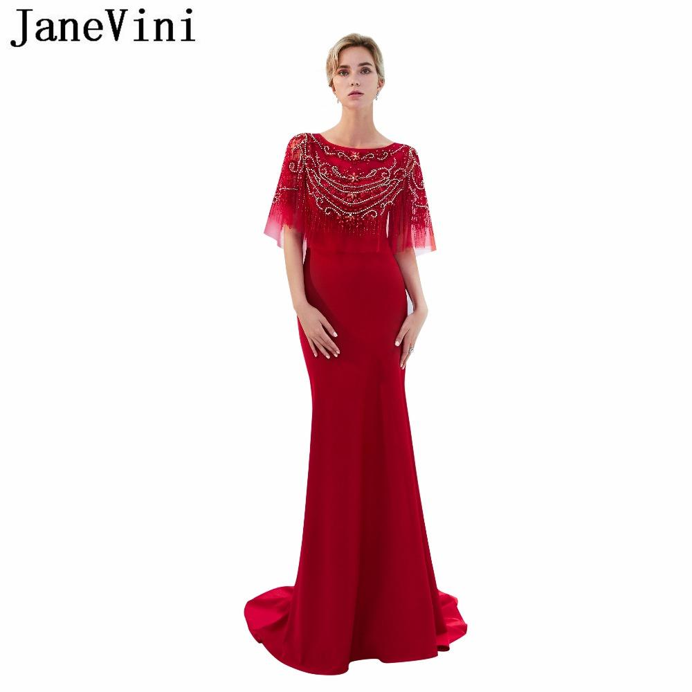 59aba8f41913 Wholesale Elegant Red Long Bridesmaid Dresses Satin Scoop Neck Luxury Beaded  Crystal Women Mermaid Formal Prom Gowns Sweep Train Online with   633.69 Piece ...