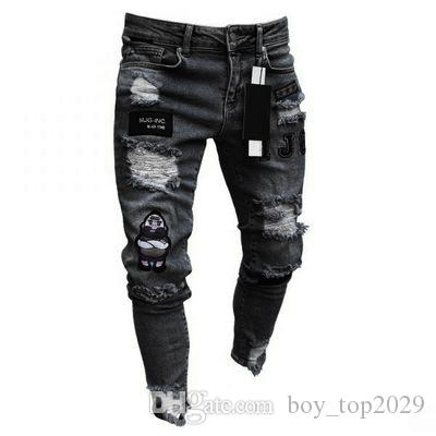 eaca5615a1 Compre S 3XL Pantalones Vaqueros Rotos Hombres Motociclista Biker Jeans  Retro Pantalones De Diseñador Plisados Slim Fit Mens Moto Denim Hip Hop  Punk ...