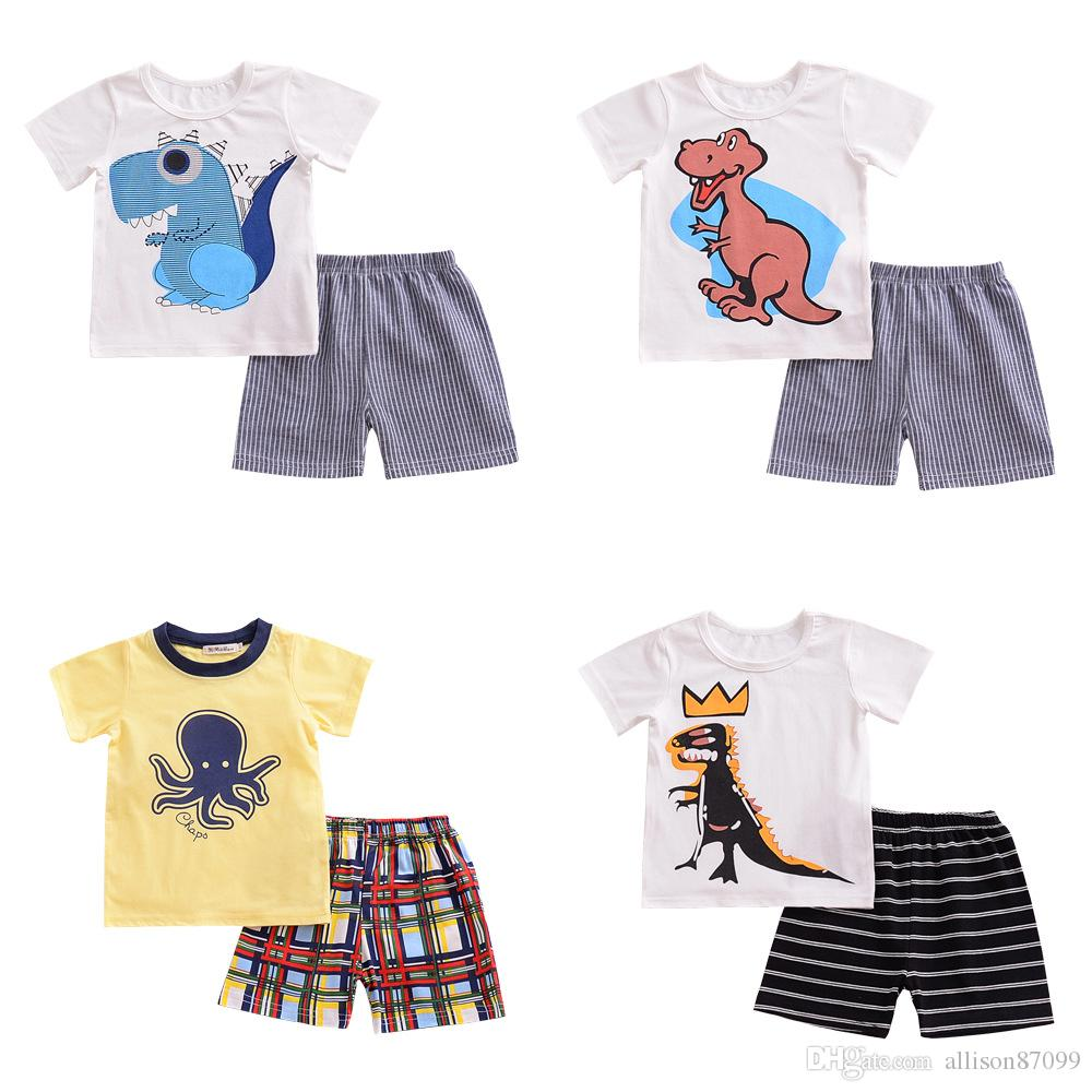 fb6ae57fe5a6 2019 Boys Clothes Set Leisure Outfits Cartoon Dinosaur Kids T Shirt Short  Sleeve + Shorts 100% Cotton 2018 Summer From Allison87099