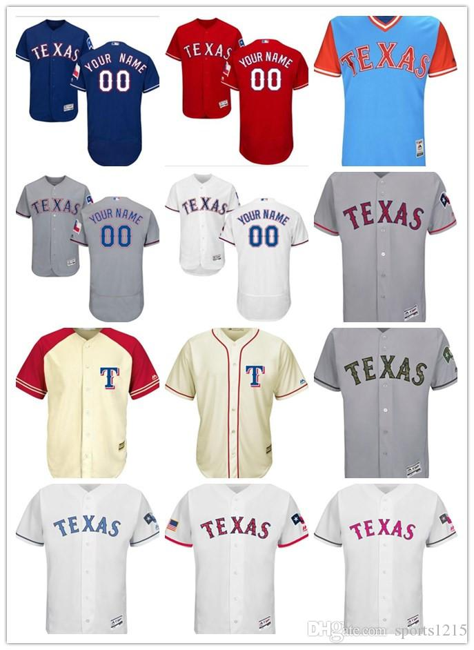 release date a5b45 2fa94 custom Men's women youth Majestic Texas Rangers Jersey Personalized name  and your number Blue Red White Grey Kids Baseball Jerseys