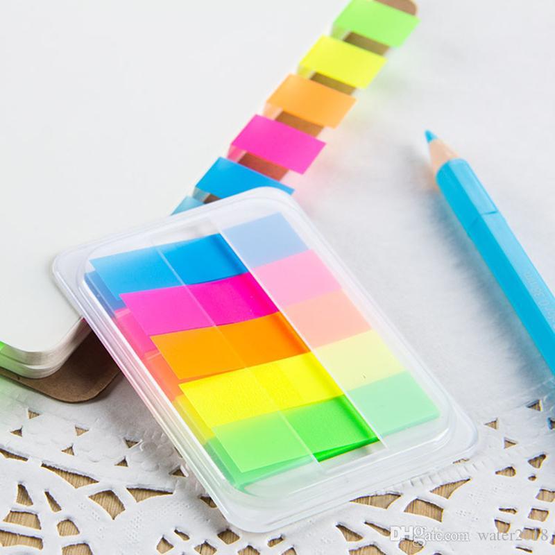 Pull-Out Boxed Abreißen PET Haftnotizen Fluoreszierende Paddel-Stick Scratch Pad Notizen Freies DHL 3 2 5