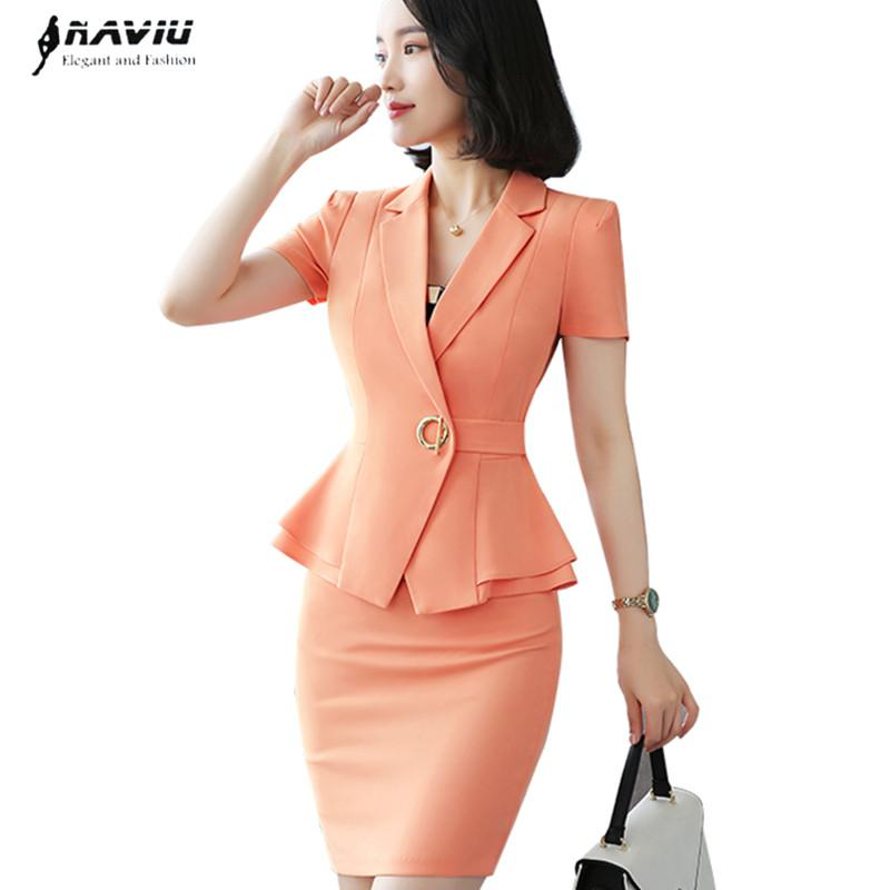 653a34e598a 2019 Fashion Professional Skirt Suits Women Summer Short Sleeve 2018 New OL  Eleblazer And Skirt Office Ladies Work Wear Suits From Maoku