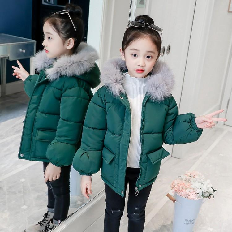 68d76eb7a DZIECKO Teenage Girls Winter Down Coats Fur Hooded Thickening Warm ...