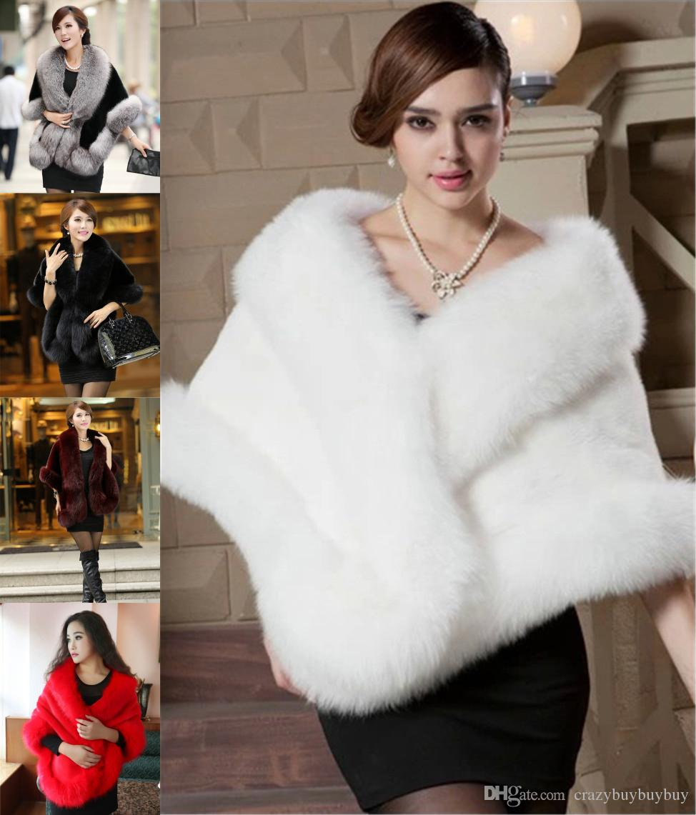 020e2a82a37 New Faux Fox Fur Bridal Shrug Wrap Cape Luxury Stole Shawl Bolero Jacket  Coat For Winter Wedding Bride Bridesmaid Free Shipping WT12