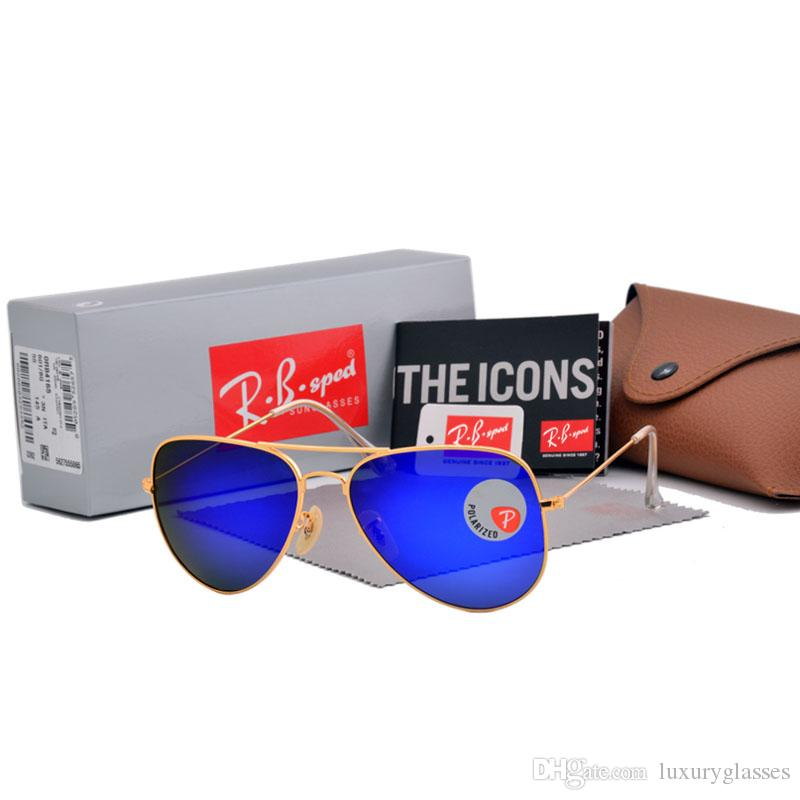 b70cb97039 Compre Gafas De Sol Polarizadas Hombres Mujeres Marca Diseñador Montura De  Metal Gafas De Sol Piloto Vintage Sport Lentes De Plástico Con Lentes  Polaroid ...