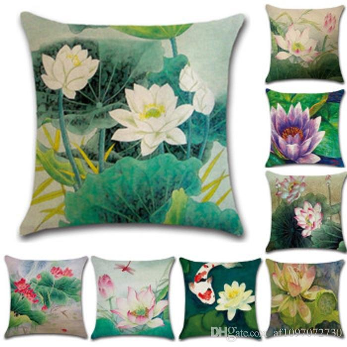 New Pillowcase Hot Cotton Chinese Style Pillow Case Hand-Painted Pencil Lotus Pillow Cover Cushion Cover Home Decoration