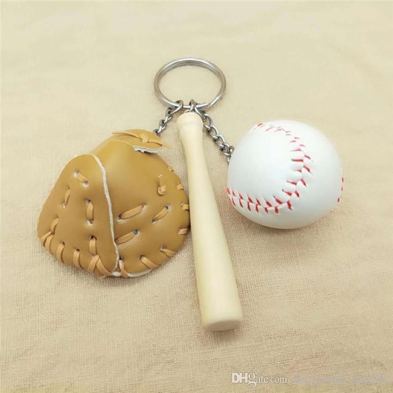 Yeni Deri Beyzbol Goves Anahtarlık Ahşap Beyzbol Sopası Anahtarlık Anahtar Yüzükler Çanta Moda Takı DAMLA NAKLIYE 340032