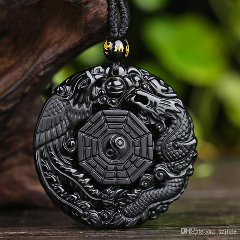 Chinese Dragon Phoenix BaGua Lucky Amulet Pendant Natural Black Obsidian Hand Carved Necklace Fashion Jewelry Wholesale