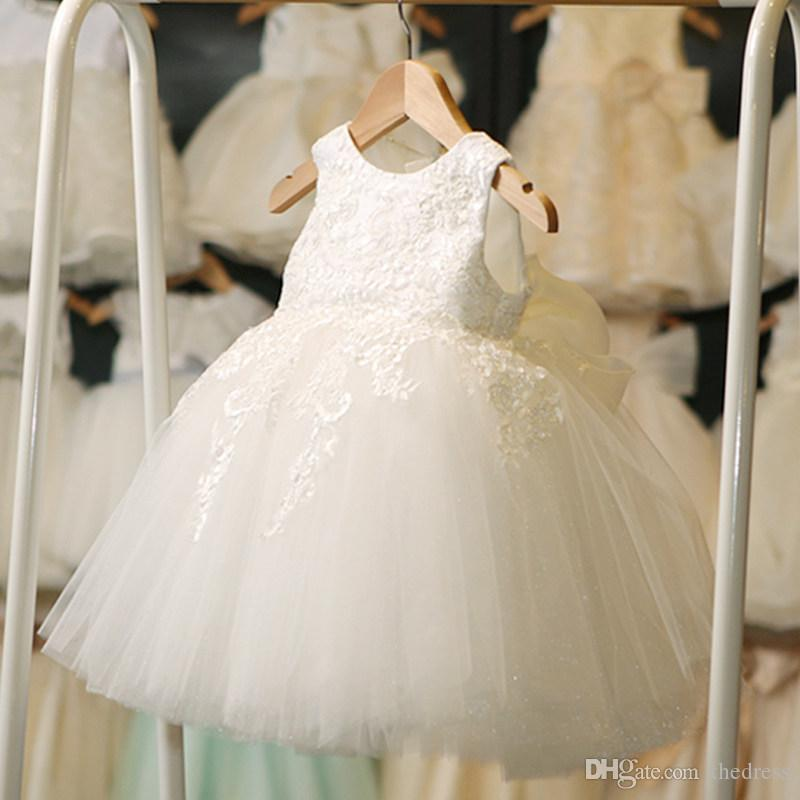 2018 Flower Girls Dress Girl Formal Dress White Lace Pageant Dresses