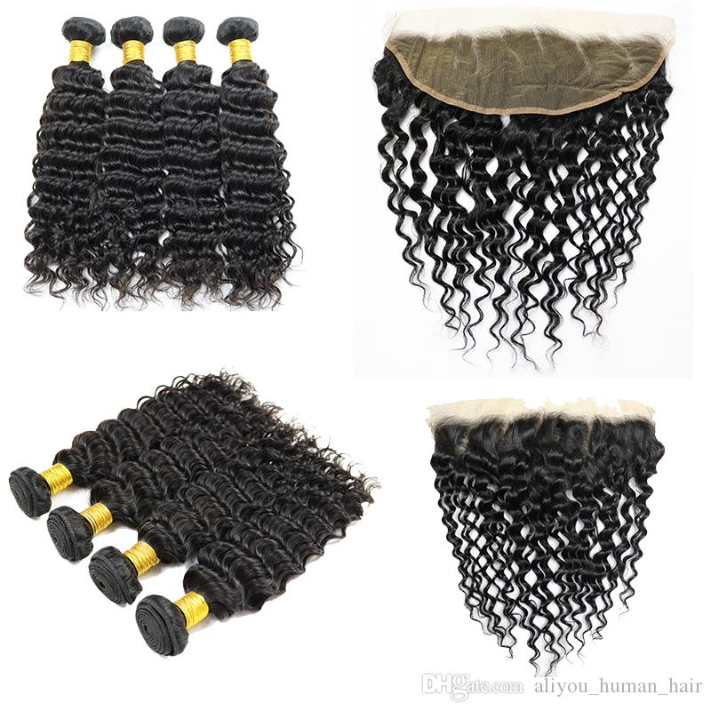Peruvian Hair 4 Bundles with Lace Closure Deep Wave Body Wave Hair Weaves Water Wave Straight Kinky Curly Human Hair Bundle Lace Closure