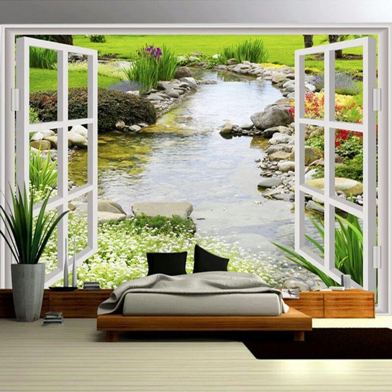 Custom Wall Mural Wallpaper Modern Simple 3D Window Garden