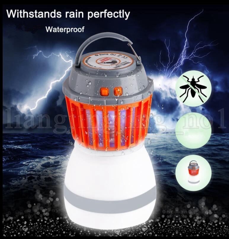 Bug Zapper Camping Lantern 2 In 1 LED Light Mosquito Insect Killer Zapper  Waterproof Solar LED Rechargeable Light Traveling Use KKA5440