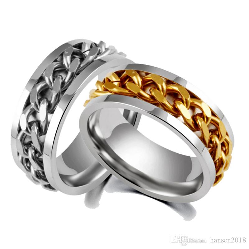 Jewelry & Accessories Fashion Men Ring The Punk Rock Accessories Blue 316l Stainless Steel Rose Gold Black Chain Spinner Rings For Men Anillo Mujer Elegant In Style