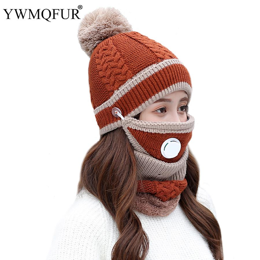 073ed4a97bf 2019 2018 New Winter Classic Hat Scarf Mask Sets For Women Vintage Knit  Lady Beanies Caps Girl Outdoor Warm Mask Female Rings Scarves From  Weichengz