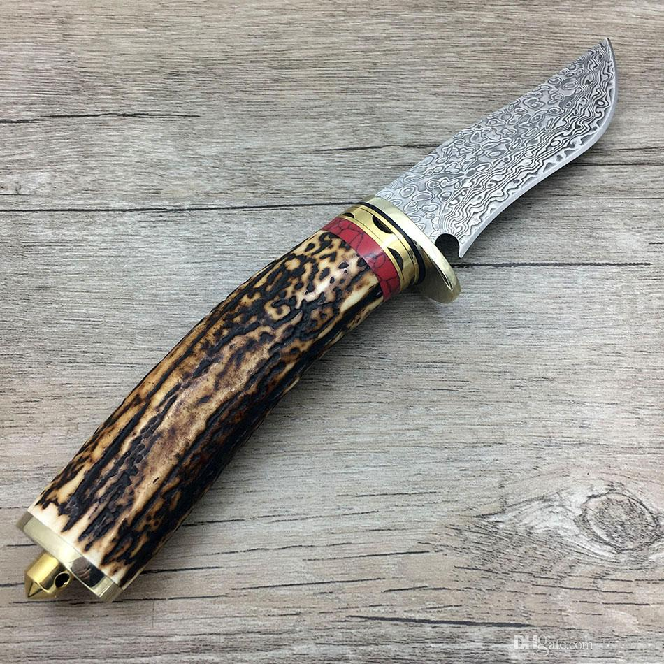 Swayboo handmade damascus forged steel fixed blade hunting knife Antlers horn handle outdoor camping wilderness survival knife