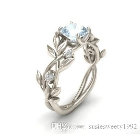 Cubic Zirconia Wedding Rings.Cubic Zirconia Wedding Ring Olive Leaf Branch Girl Design 925 Silver New Free Ship Blue Rings Sale Jewelry Sets Settings Diy For Girl Mom