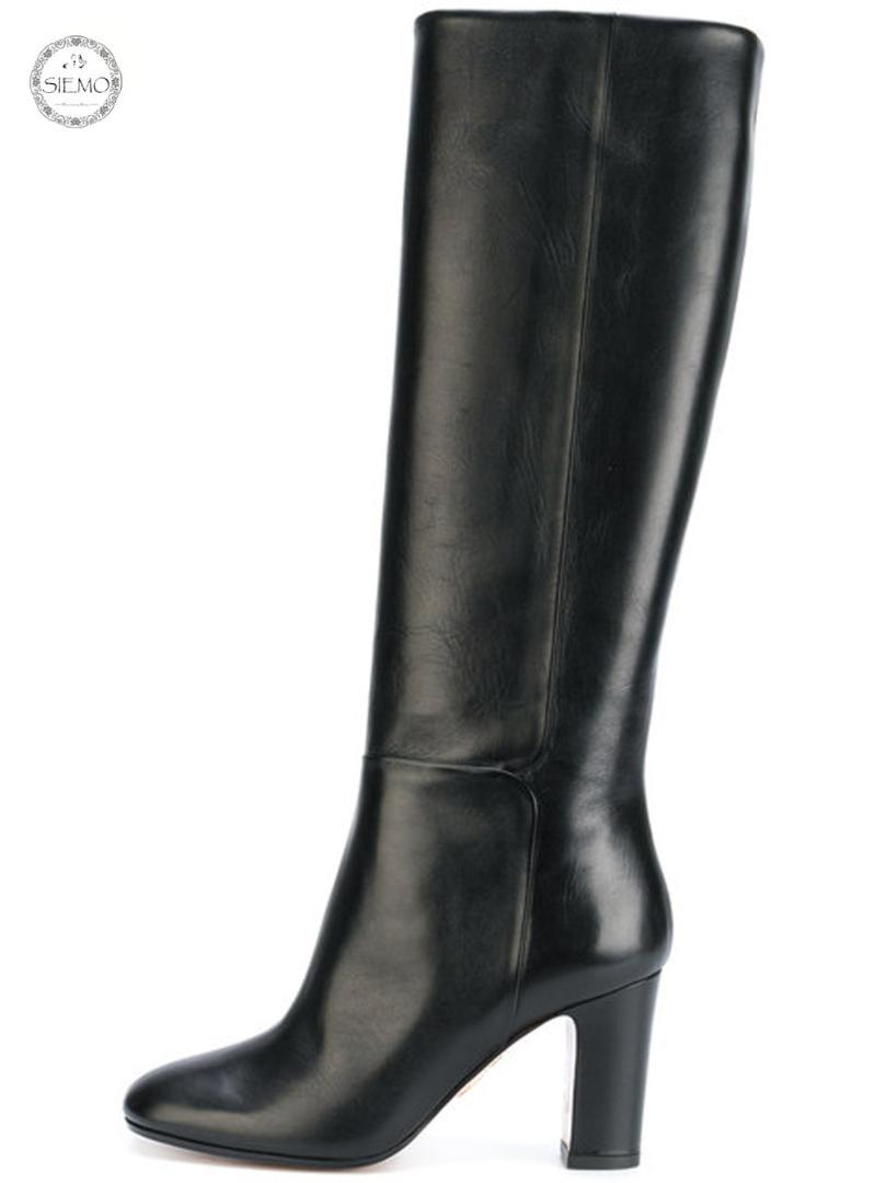 7b559afd8ec5 Siemo Women Round Toe High Heel Knee Boots Block Heel Evening Party Dress  Boots Slip On Brown  Black US Size 4 17 Wholesale Red Shoes Footwear From  ...