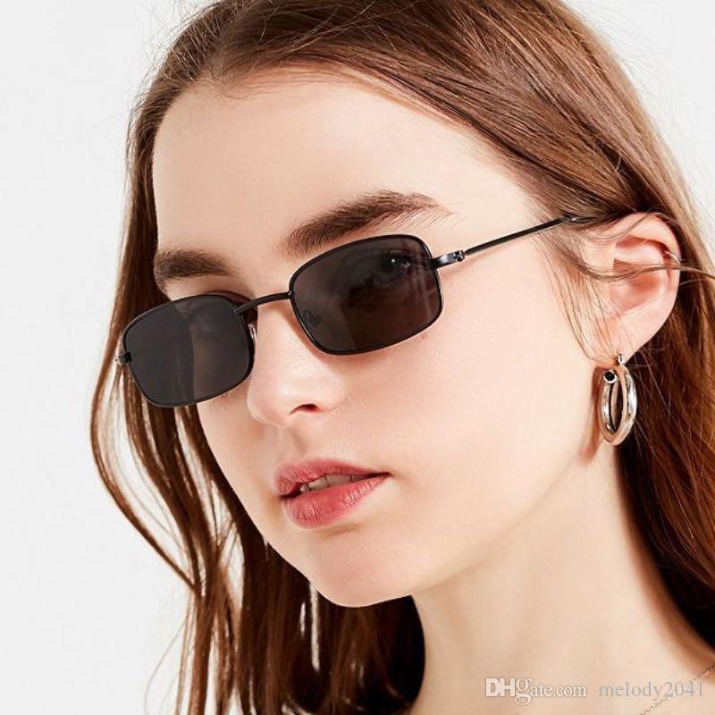 db88f9367f8 2019 New Fashion Small Metal Sunglasses Rectangle Frame Unisex Design  Vintage Eyewear Colorful Lenses UV400 Heart Shaped Sunglasses Mirrored  Sunglasses From ...