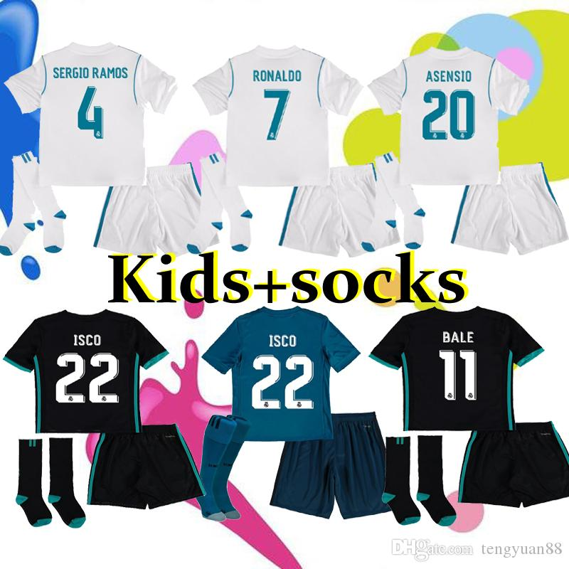 7efd14376 17 18 KIDS Kits Real Madrid Soccer Jersey 2017 18 Football ShirtS RONALDO  Asensio SERGIO MODRIC RAMOS MARCELO BALE ISCO Child Soccer Sets 2017 2018  2019 17 ...