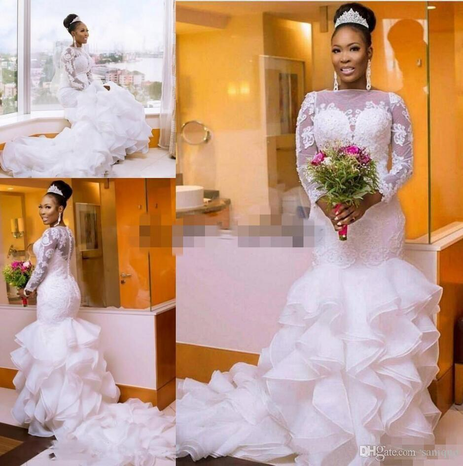 02bd49bbb9a 2018 Vintage White Mermaid Wedding Dresses African Ruffled Organza ...