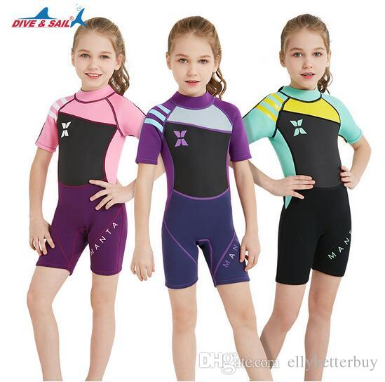 e1fddbbfda 2019 DIVE&SAIL Thermal 2.5mm Neoprene Kids Wetsuit Dive Wet Suit Child  Swimwear One Piece Short Or Long Sleeved Sunscreen Warm Clothing From  Ellybetterbuy, ...