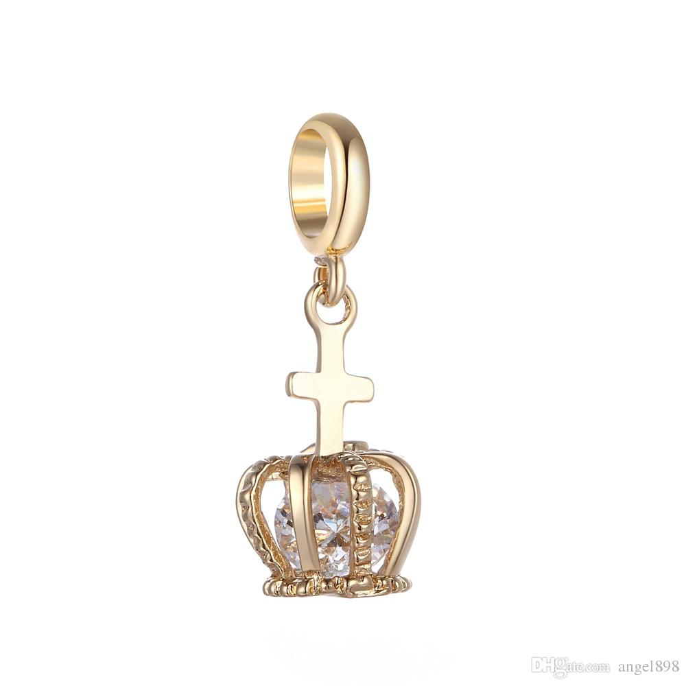 Angel bola Endless Charms Crown Pendant CZ Stone Stone Brass Material Not Fade Interchangeable DIY Accessory