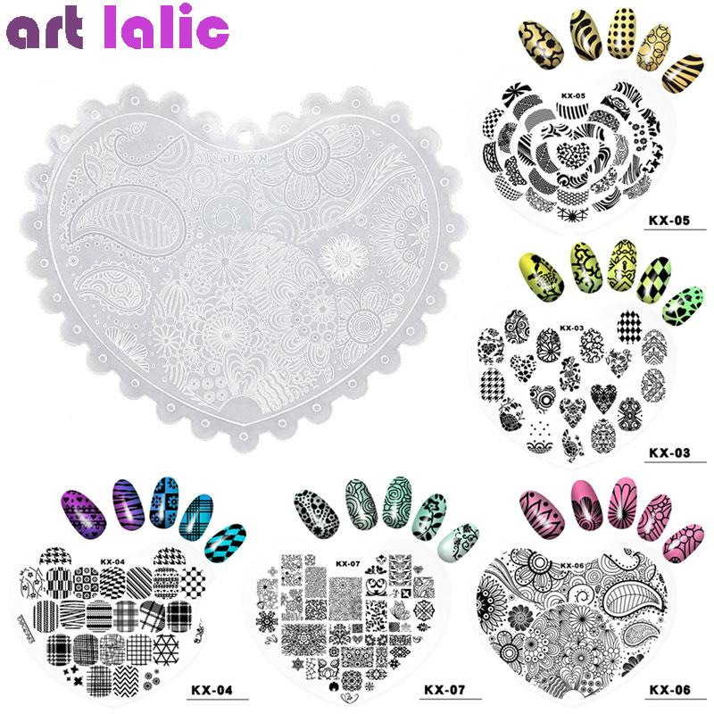 1 Pc Plastic Heart Nail Art Stamping Plates 10 Design Flower Pattern Printing Stencil Stamp DIY Nail Template Transfer Manicure