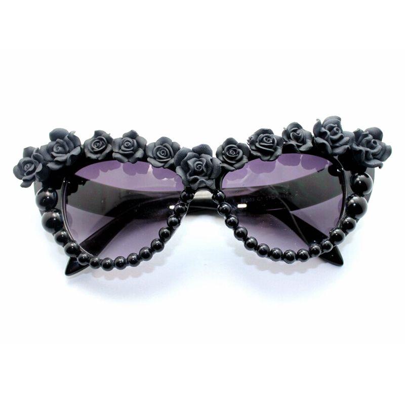 Compre Gafas De Sol Barrocas Moda Mujer Flor De Resina Negra Gafas Retro  Gafas De Ojo De Gato Para Damas Diseñador De La Marca Sungasses De Gran  Tamaño A ... 525b2a0176da