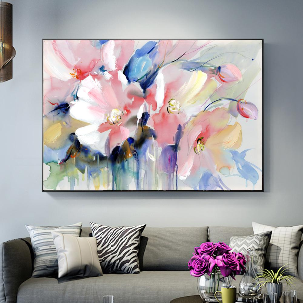 32167d2e1becb Abstract Watercolor Flower Oil Painting Print On Canvas Modern Wall Art  Flower Picture For Living Room Wall Poster Cuadros Decor