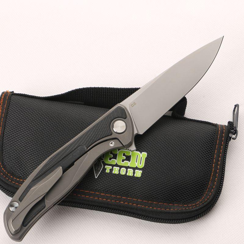 Green thorn F95 D2 leaf folding titanium TC4 titanium alloy +G10 handle, camping hunting pocket knife practical fruit EDC tool