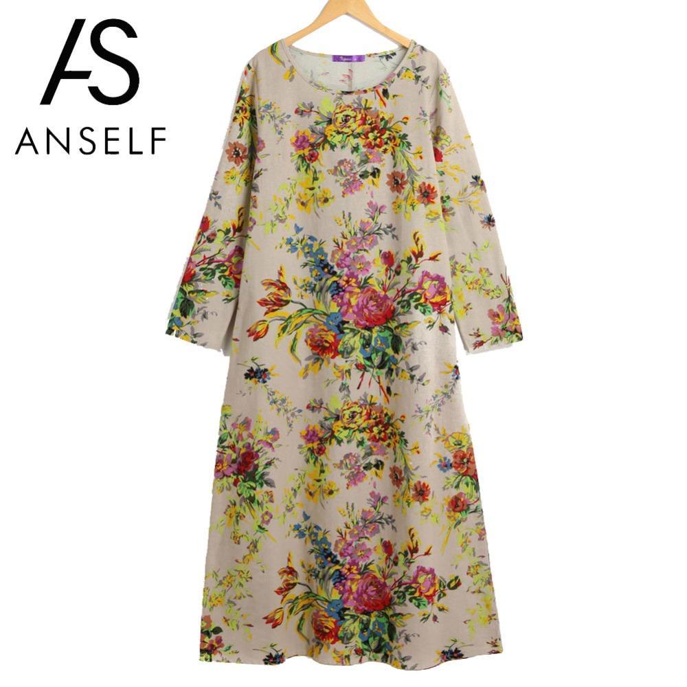 Acquista Anself Vintage Boho Dress Women Maxi Retro Floral Dress 2018  Tasche A Manica Lunga O Collo Plus Size Cotone Lino Abito Sfuso A  23.84  Dal Baiqian ... c3872543de5