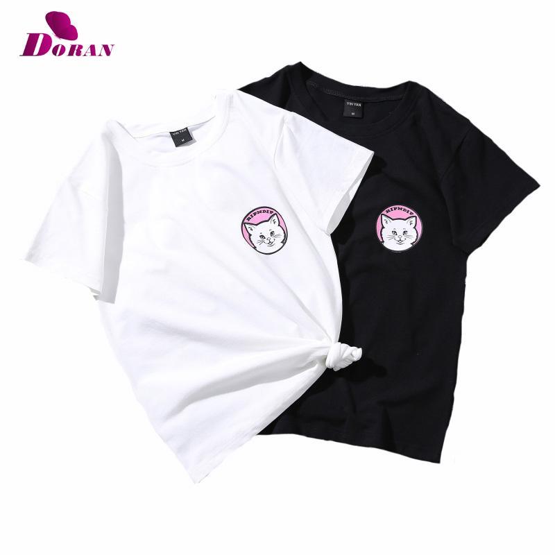 DORAN Cat Cute T Shirt Printing Plus Size Women Tshirt Cotton Casual Funny  T Shirt For Womens Summer Clothing Top Drop Ship Best Tee Shirt Sites  Online ... 0b32774875