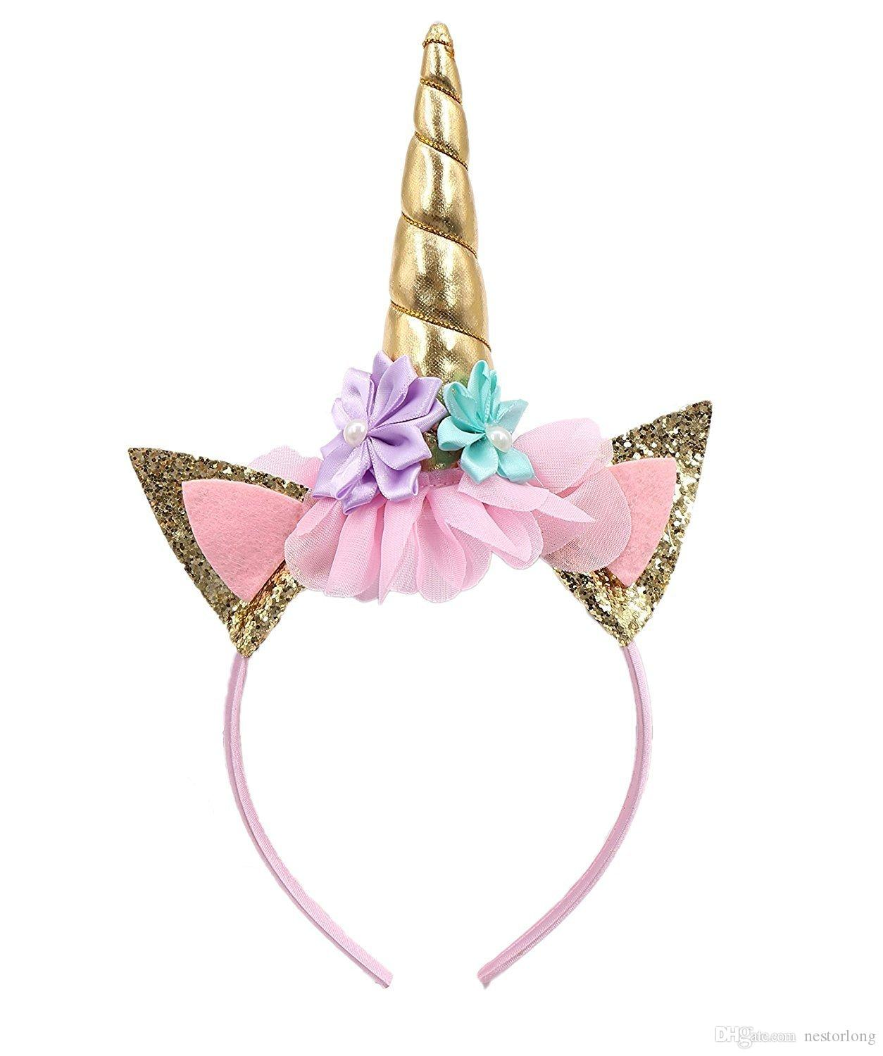 Handmade Kids Party Gold Unicorn Headband Horn Gold Glittery Beautiful Headwear Hairband Hair Accessories Gold/Silver