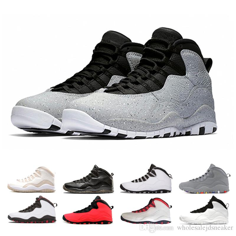 huge discount 059d0 30c54 Compre Nike Air Jordan Retro 10 Shoes Designer 10 10s Mens Cement Westbrook  PE Top Trainers Zapatillas De Baloncesto Estoy Detrás Negro Blanco Azul  Rojo ...