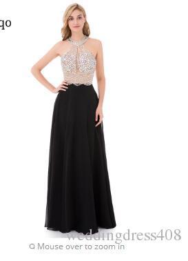 105d7836e Compre 9211W Sexy A Line Vestido De Fiesta Negro 2018 Vestido Largo De  Noche Sin Espalda Vestidos De Fiesta Vestidos De Fiesta Vestidos De Fiesta  Formal Del ...