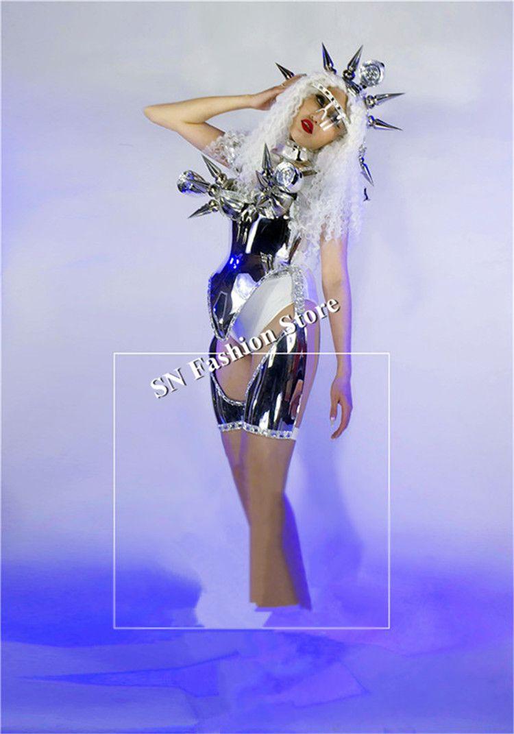 DC40 Ballroom dance led light costumes women robot stage show wears dress helmet silver mirror catwalk performance clothe dj bar nightclub