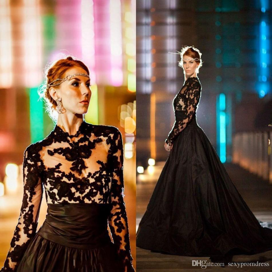 Vintage Gothic Style Black Abiti da sposa 2018 Maniche lunghe Collo alto in pizzo Tulle taffettà Una linea Sweep Train Abiti da sposa Robe de marrie