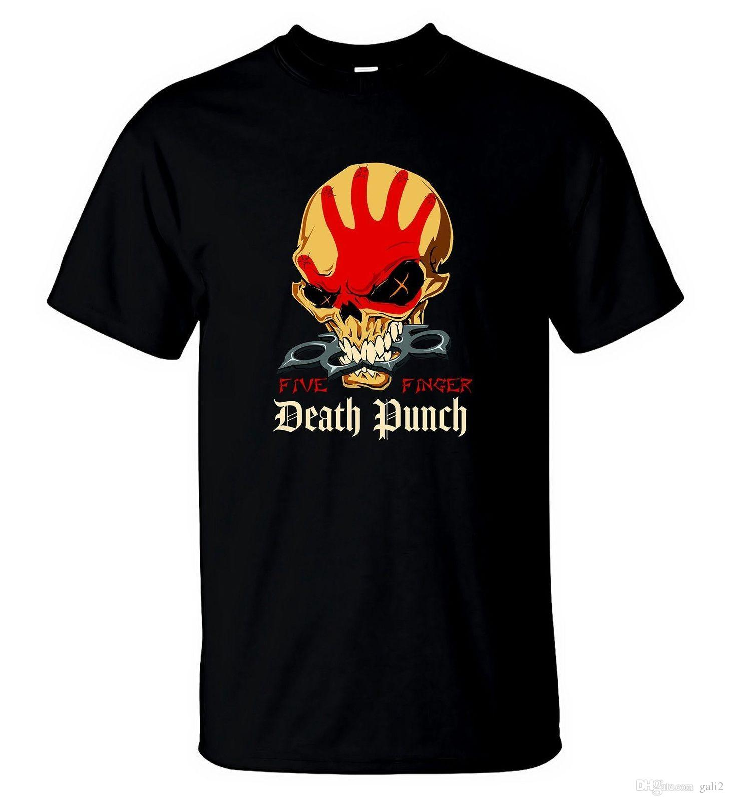 Maglietta Five Finger Death Punch Maglietta Heavy Metal Rock Band Tee 4 2018 da uomo