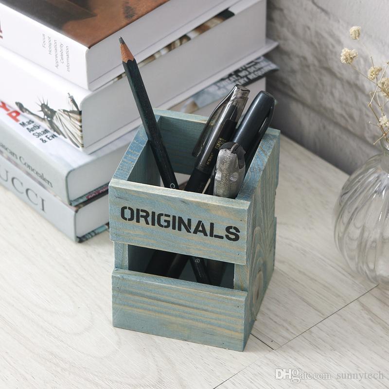 Nueva caja de almacenamiento de escritorio regalo de Lápiz de Madera Retro Titulares de la Pluma de la Escuela de Estudiantes de la Escuela LZ1115
