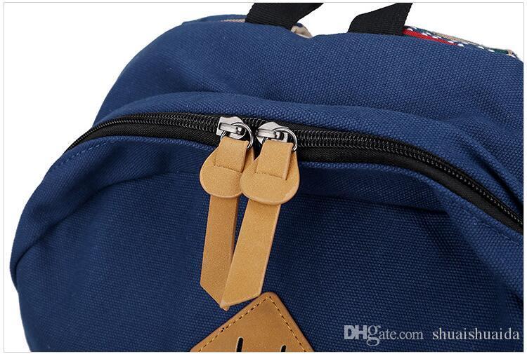 Cartable Canva + Tissu Oxford en tissu Sac à dos La mode loisirs Sac à dos rayé Sacs de voyage en plein air Sac à dos grande capacité A25