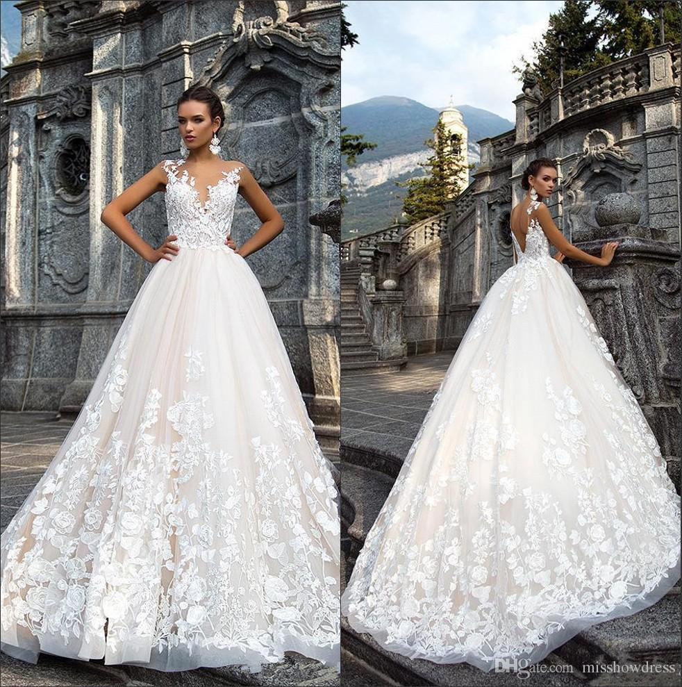Discount 2018 Milla Nova Sheer Mesh Top Lace A Line Wedding Dresses