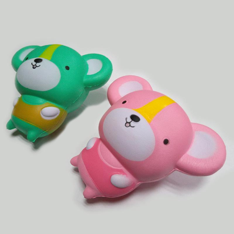 Hot sale Cute kawaii mouse squishy 11 cm pink and the green lovely slow rise of small mouse children cartoon squishyies toy