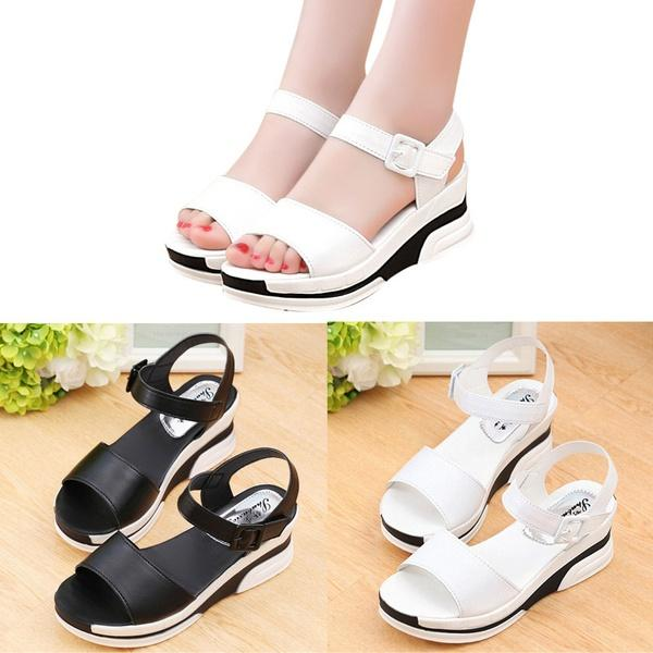 850ce1baadba Women S Summer Sandals Shoes Peep Toe Low Shoes Roman Sandals Ladies Flip  Flops Girls Sandals White Sandals From Yrmmmm