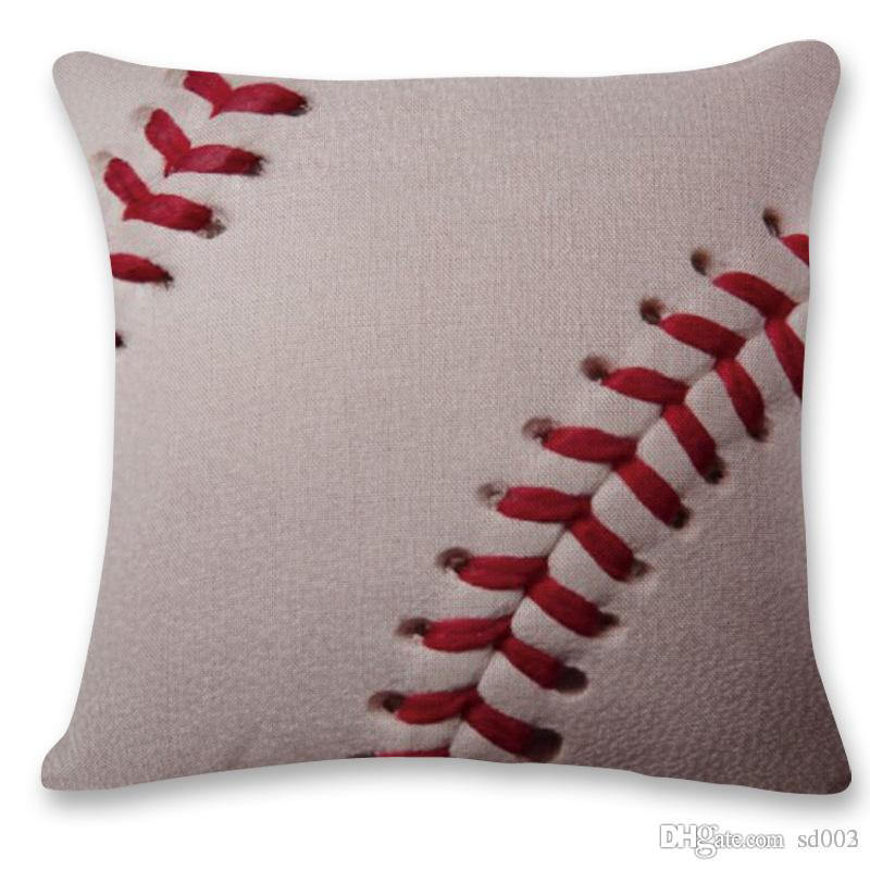Baseball Print Cushion Cover Home Comfortable Decor Pillowcase Novelty Flax Pillow Case Sofa Pillows Enclosure Hot Sale 7hs ii