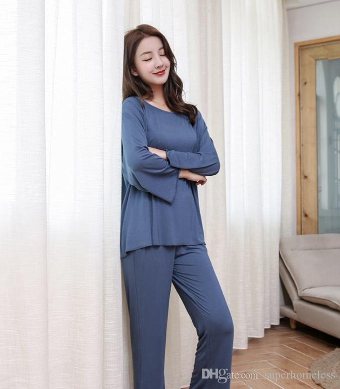 Women Home Clothes Blue And Red Carding Cotton Long Sleeved Comfortable  Pajamas in Spring And Autumn Carding Cotton Women s Home Clothes Dress in  Spring And ... 3a82b20ac